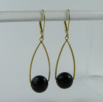 Estate Vintage 14k yellow gold Black Onyx dangle dangling  earrings