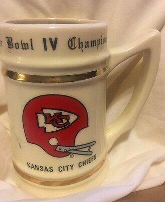 Vintage Kansas City Chiefs Super Bowl IV 4 Champions Football Mug Cup Stein