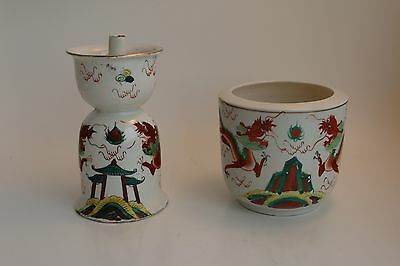 2 Asian Incense Burners with Chinese Dragon Motif
