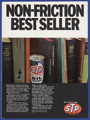 Vintage 1967 STP Oil Treatment Non-Friction Best Seller Garage Gas Print Ad 60's