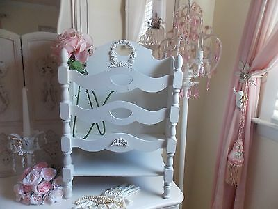 Vintage Cherub & Barbola Rose Swag Wood Victorian Magazine Stand W/ Spindle Legs
