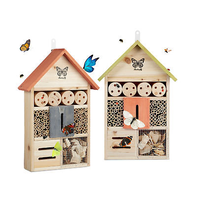 Insect Hotel Butterfly House Colorful Nesting Aid for Bees, Ladybugs, Garden