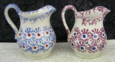 (2) Antique Staffordshire Daisy Pattern Spongeware Creamers Cream Pitchers