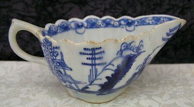 c. 1760 Antique Bow or Royal Worcester Pylon Trees Porcelain Cream or Sauce Boat