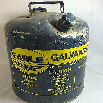 Vintage Eagle Galvanized Steel Gas Can 5 Gallon Metal Blue