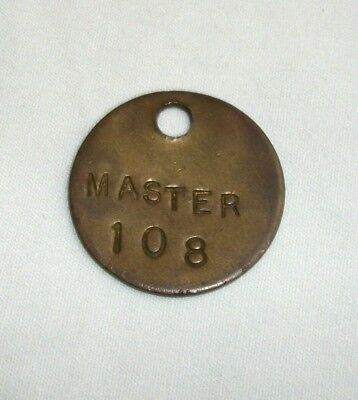 Vintage Brass Tag Master 108 Keychain Fob Hotel Tool Check