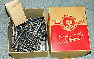"""Vintage CONTINENTAL SCREW CO BOX Of 4"""" by 1/4""""  Round Head Slotted Stove Bolts"""