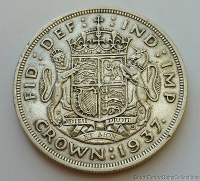 1937 Great Britain 1 Crown .500 Silver Coin