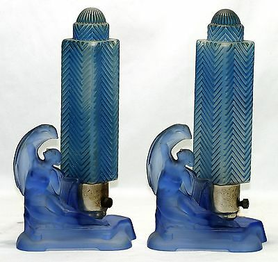 PAIR (2) NUDE FROSTED ART DECO 1920s BLUE BOUDOIR TABLE TUBULAR LAMPS -EX.COND!