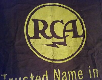 pair of vintage RCA Victor cloth advertising promotional banners for Radio lot