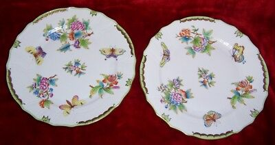 Herend Hungary Porcelain 2 Dinner Plates In The Queen Victoria Pattern #2