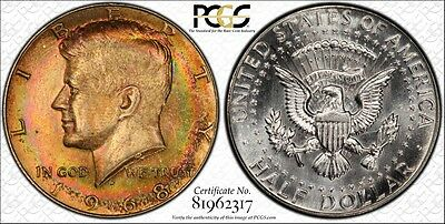 1968 D Kennedy Half Dollar Pcgs Ms66+ Crazy Wild Toned