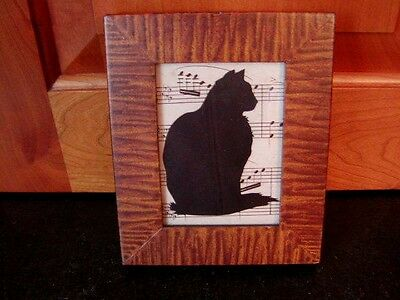 ALISON SHRIVER CAT SCHERENSCHNITTE PAPER CUTTING SILHOUETTE Wood Frame Signed
