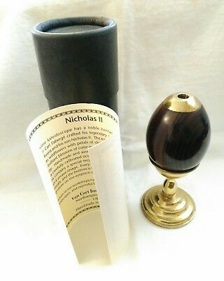 Vintage Van Cort Exotic Wood & Brass with Glass & Gems Kaleidoscope Egg
