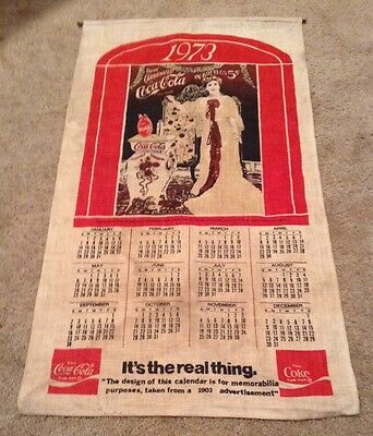 """1973 Coca-Cola """"It's The Real Thing"""" FABRIC CALENDER"""