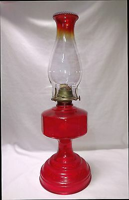 "Vintage Eagle oil kerosene 18"" ruby red hurricane lamp matching beaded chimney"