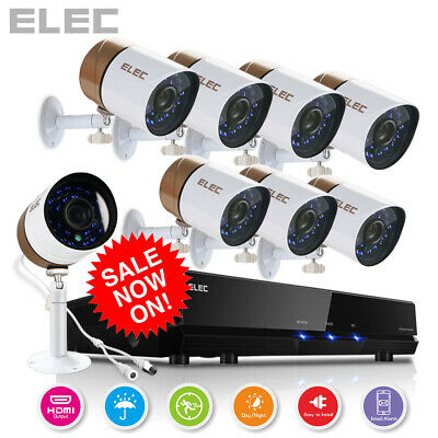 ELEC 1080P 2000TVL AHD 8CH 4CH DVR 960H HDMI CCTV Security Camera System 1TB AU
