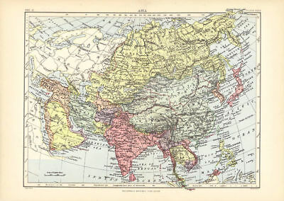 Antique Color Map of Asia From the Encyclopaedia Britannica. 1877.