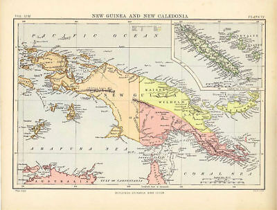 Antique Map of New Guinea and New Caledonia. 9th Edition, Britannica. 1885.
