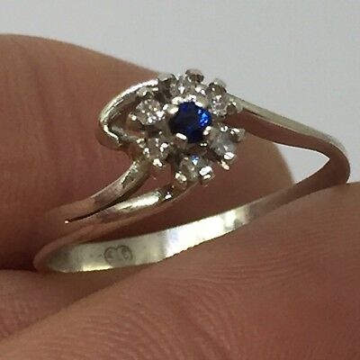 SOLID 9K 375 White Gold Natural Diamond & Sapphire Ring Size 7