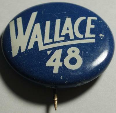 1948 PRESIDENTIAL ELECTION, Original (Henry) WALLACE 48 Button RARE Finished 4th