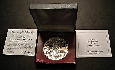1974 Bahamas 10 Dollar Silver Proof Coin 1.46 oz .925 purity - low mintage