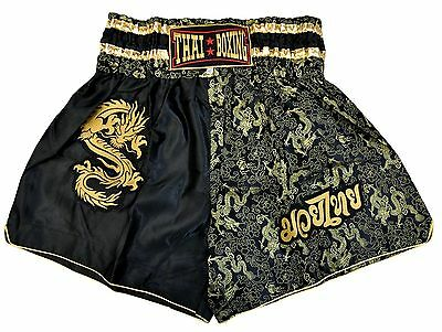 Thai Boxing Shorts, Black-Gold, manufactured and imported from Thailand (80034)