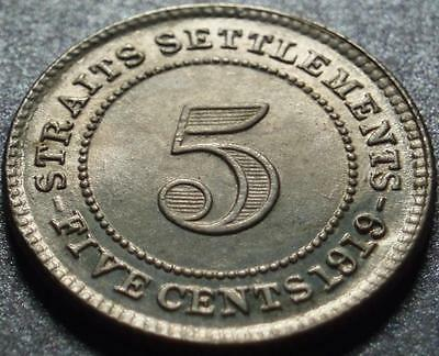 1919 STRAITS SETTLEMENTS Now MALAYSIA Nice >Silver< FIVE CENTS Original GEORGE V