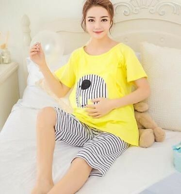 Elephant Maternity Pregnant Women Shorts Sleepwear Nightwear Pajamas Set Yellow