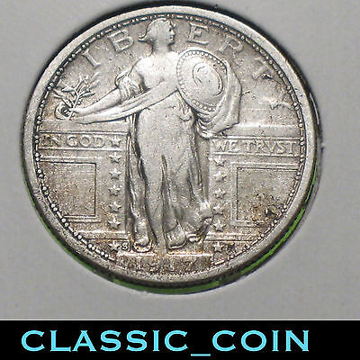 1917-S SILVER STANDING LIBERTY QUARTER 25c TYPE 1 SCARCE DATE SAN FRANCISCO