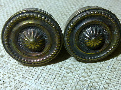 decorative brass knobs x 2, small handle, antique or vintage, reclaimed