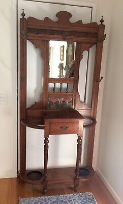 Antique timber hall stand
