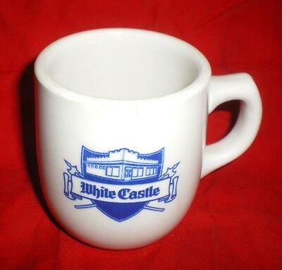 Vintage WHITE CASTLE Coffee Mug with Ashtray Bottom - Blue/White - Estate Find..
