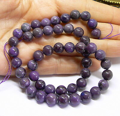 RARE NATURAL UNTREATED AFRICAN PURPLE SUGILITE ROUND BEADS STRAND 8mm 190cts AAA