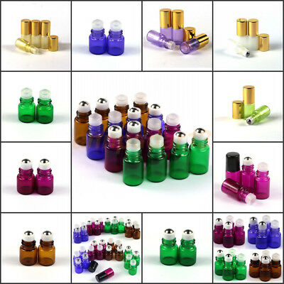 1~100X 1/2/3/5/10ml Glass Roller Bottles Metal or Glass  Ball Essential Oils