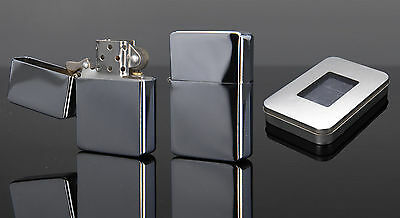 Silver Chrome Windproof Lighter Engravable Petrol Flint Ignition Great Gift