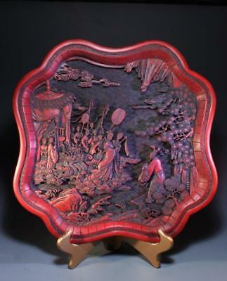 Superb Carved in Relief Chinese Lacquer Tray, 19th c.