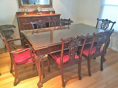 Antique Reproduction Chippendale Dining Table with 6 Chairs - Solid Mahogany