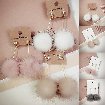 Women Unique Soft Fur Ball PomPom Long Earrings Ear Dangle Jewelry
