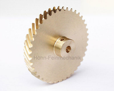 Spur Gear, Helical, 45° Oblique Geared, Module 0,8, made from Brass, Z40