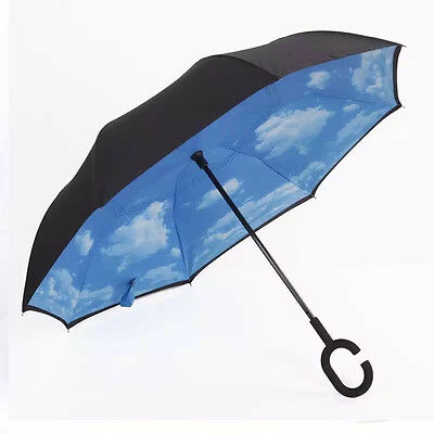 Modern Upside Down Reverse Umbrella C-Handle Double Layer Inside-Out Colors