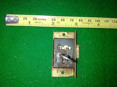 cabinet brass and steel lock, 49 mm, antique or vintage (L84)