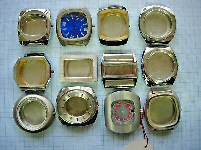 Lot 12 boitier case watch montre vintage 70s chromé 1970  3