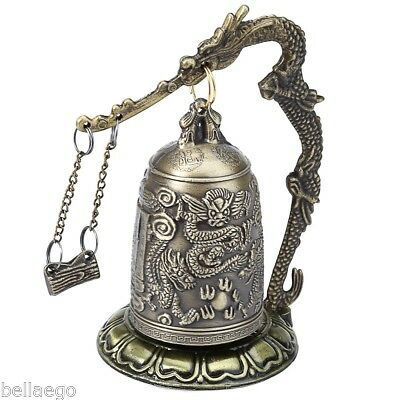 Zinc Alloy Chinese Retro Bronze Lock Dragon Carved Buddhist Bell Home Artware