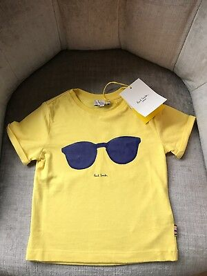 Paul Smith Junior Baby Boys 2A 24 Months Sunglasses T-Shirt Yellow Blue BNWT