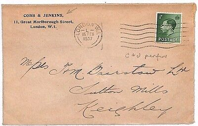 JJ7 1937 GB KEVIII PERFIN COVER *C&J* London Cobb & Jenkins {samwells-covers}