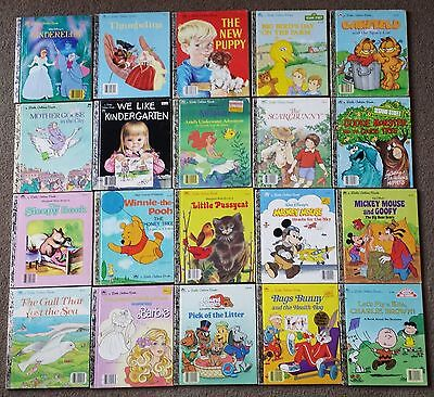 Bulk Collection Of 20 Vintage C1980's 90's Little Golden Books - Assorted Titles