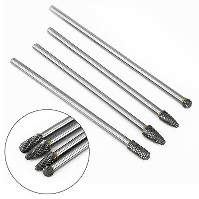 "Long Reach Rotary Burr | 4pc Set Double Cut Tungsten Carbide Bit 1/4"" Shank x 6"""