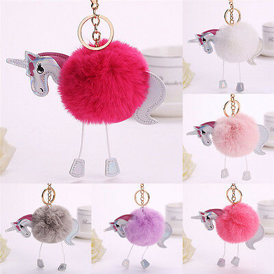 Fluffy Unicorn Keychain Faux Rabbit Fur Ball Key Chains Bag  KeyRing AccessoryHG