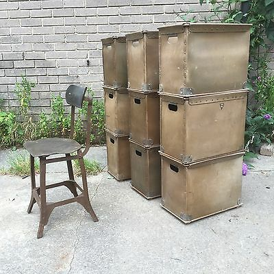 Industrial Vintage Factory Storage Boxes - Textile Mill Stacking Crates
